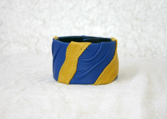 Leather Cuff in Royal Blue and yellow
