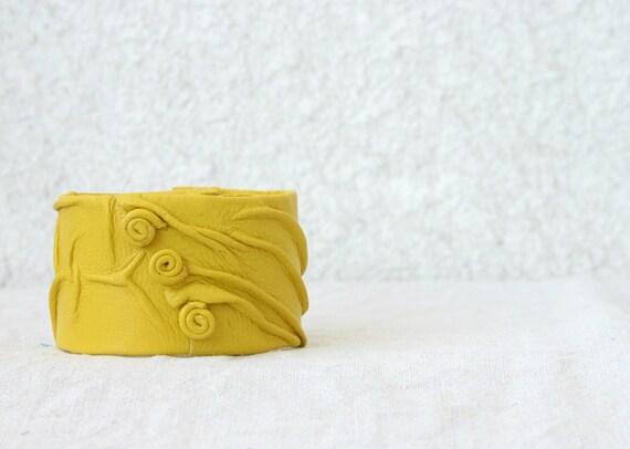 Yellow Lemon Leather Cuff Bracelet