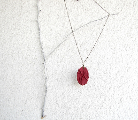 long necklace,leather pendant, burgundy red