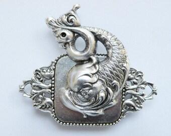 Silver Koj Fish Brooch