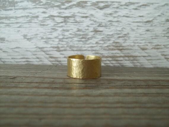 Handmade hammered  brass ring.