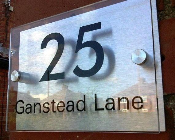 "SUPERSIZED, Door number and name plaque, bespoke custom made, modern acrylic and aluminium- approx 12"" x 8"" (300mm x 200mm)"