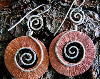 Copper Earrings with Sterling Silver Spirals, Hand Forged and textured
