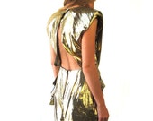 vintage 80s gold lame and metallic peplum dress