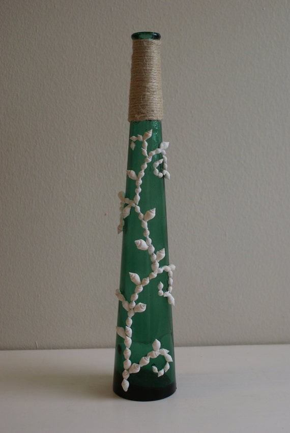Deep Green Beachy Bottle with White Dove Shells