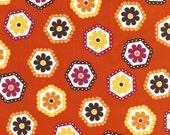 Stitched Hexagons from Stitch by Betz White, garden, 100% organic cotton, 1/2 yard