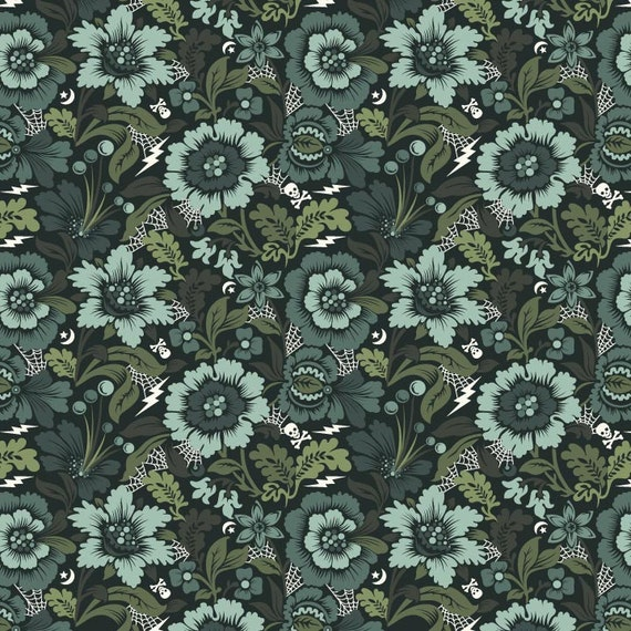 SALE Spider Blossom from Night Shade by Tula Pink, vapor, 100% cotton, 1/2 yard