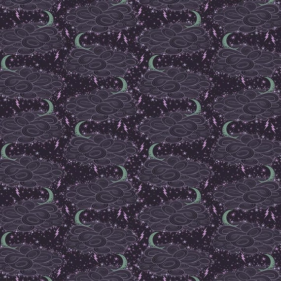 SALE Storm Clouds from Night Shade by Tula Pink, evening shade, 100% cotton, 1/2 yard