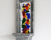 CLEARANCE FREE Ship Weathered stained glass wall hanger 6X15 (restored)