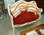 Vintage Mashup of Antique Settee with Tangerine Fabric