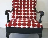 Vintage Mashup - Antique Armchair in Black Satin Lacquer Finish with Mod Red & White Dotted Upholstery