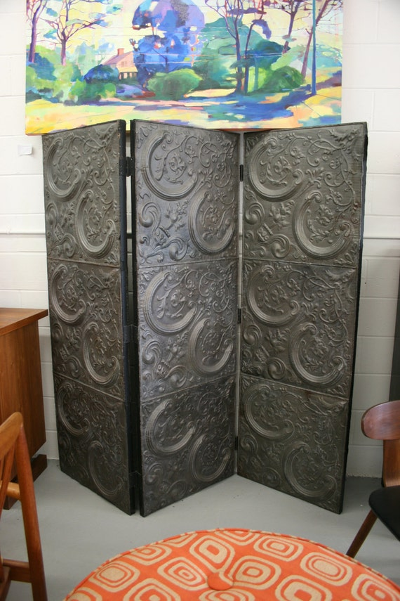 Tin Tri-fold Screen, crafted from Vintage Ceiling Tiles