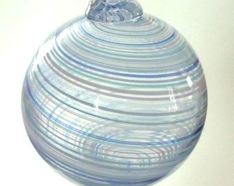 Blue Twisted Stripe Ornament - Round : DISASTER RELIEF