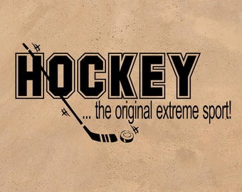 Wall Words Hockey the Original Extreme Sport Vinyl Decal Sticker For Wall or Other Smooth Surface