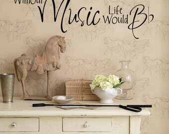 "Wall Words ""Without Music Life Would B flat"" Vinyl Wall Decal / Wall Sticker for Music Lovers extra large 36""w x 11""t"
