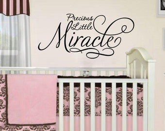 "Nursery Wall Sentiment ""Precious Little Miracle"" LARGE 48""w x 20""tall Extra large"