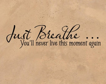"""Inspirational Vinyl Wall Sticker """"Just Breathe...You'll Never Live This Moment Again"""" -  vinyl decal great gift 3L022TVW"""