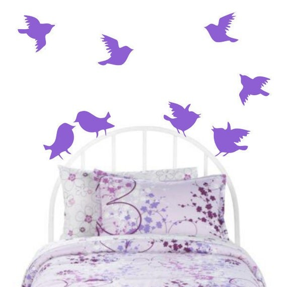 Birds Wall Decal Sticker - 8 Birds flying for bedroom room and more -  Vinyl Bird Stickers