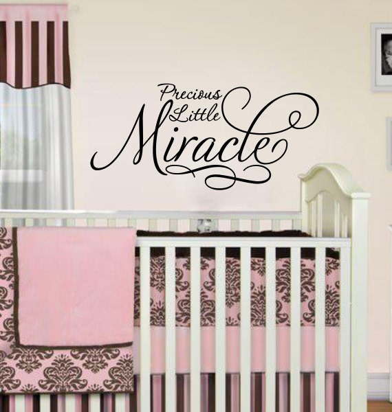 """Nursery Wall Sentiment """"Precious Little Miracle"""" LARGE 48""""w x 20""""tall Extra large"""