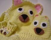 Crochet Baby Bear Afghan Blanket, Bootie & Hat Set - Yellow