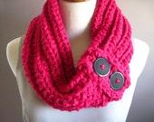 Purple Wool Cowl - Pink Rose Wool Crochet Neckwarmer