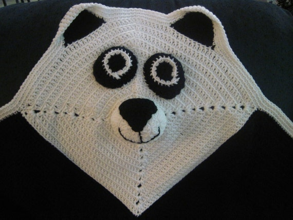 Crochet Panda Bear Blanket Afghan Black And White Baby And