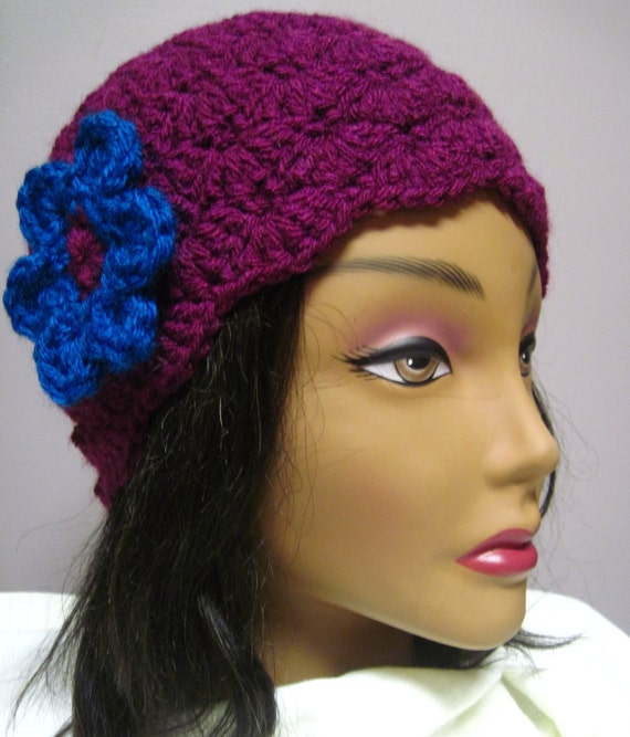 Womans Crochet Cloche Hat Wild Berry with Blue Flower Applique Embellishment Stylish, Chic, Trendy and Lacy Cap Handmade Fashion Accessory