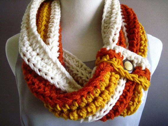 Chunky Bulky Button Crochet Cowl:  Off White, Burnt Orange and Golden Yellow with Button Accent