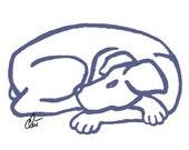 "Jacqueline Ditt - ""Dog Blue"" original graphic Art Print Edition handsigned"
