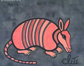 """Jacqueline Ditt - """"The shy Armadillo print after a painting"""