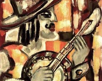 """Jacqueline Ditt - """"Banjo"""" print after a painting"""