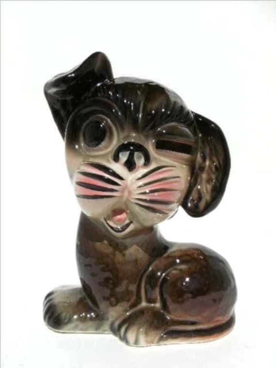 1950s Vintage Ceramic Dog Piggy Bank Made In Japan By