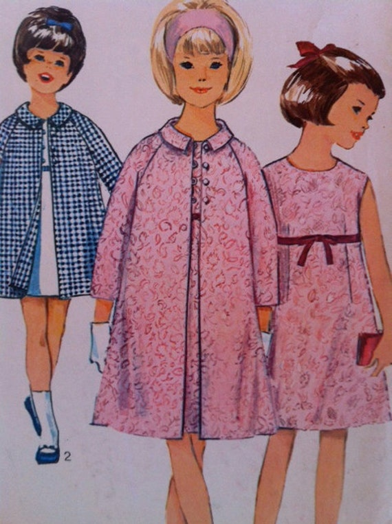 60's Vintage Simplicity Pattern 6289 - Girls Dress and Coat