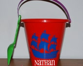 Custom boutique personalized monogrammed pirate ship sand bucket sand pail boys girls kids