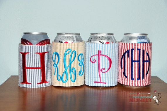 Seersucker Personalized Monogrammed Insulated Drink Koozie Cozy Coozie