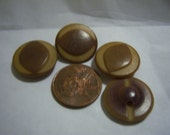 4 Vintage 2 tone brown plastic sew on buttons