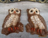 Vintage Owl Wall Hanging Set of 2 Retro Made in USA