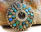 Beaded Pendant Necklace - Brass and Teal