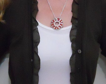Silver, Pink, and Orange Sundial Necklace
