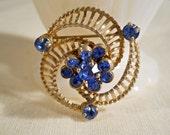 Barclay Sapphire Blue Gold Tone Brooch