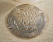 Sterling Silver Disc Brooch with Initials JGF