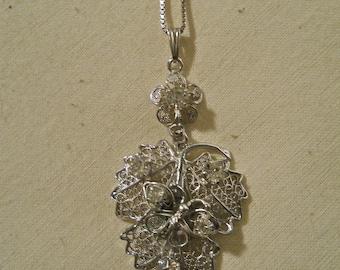 Lind-Gal Sterling Filigree Necklace