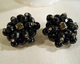 West Germany Black Glass  Clip On Earrings