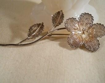Sterling Silver Filigree Floral Brooch