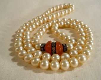 Faux Pearl Necklace with Glass Beads and Rhinestones