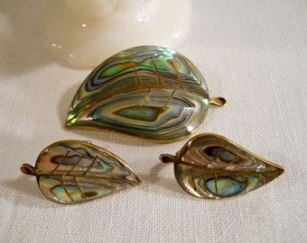 Laton Mexico Abalone Brooch and Screw On Earrings