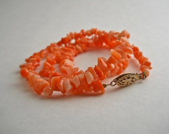 """Coral Pieces Gold Filled Necklace 17""""."""