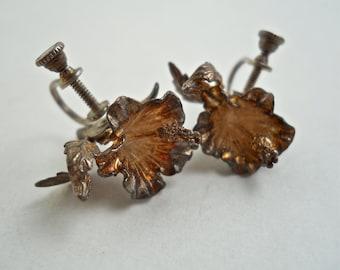 Sterling Silver Hibiscus Flower Earrings with Screw Backs.