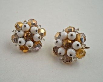 Milk Glass Crystal Clip Earrings.