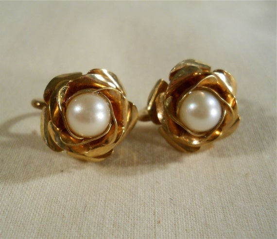 Gold filled rose earrings with pearls